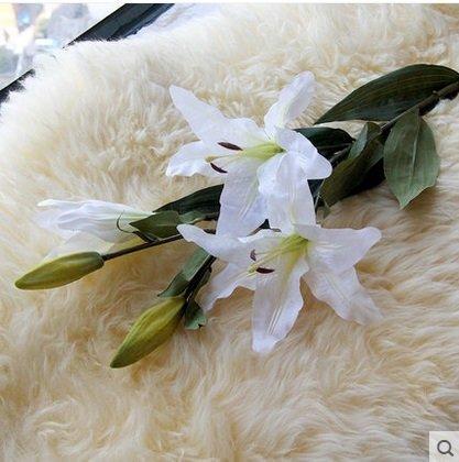 仿真花百合花花藝假花裝飾花客廳絹花假百合高仿真花朵