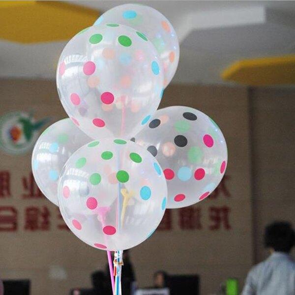 12吋 圓點透明氣球 普普風格 裝飾氣球 空飄氣球 生日派對 可愛點點【塔克】