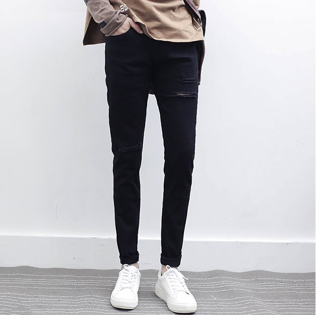 FINDSENSE品牌 2017新款男生 潮流 修身韓 版破洞黑色休閑褲牛仔褲小腳褲