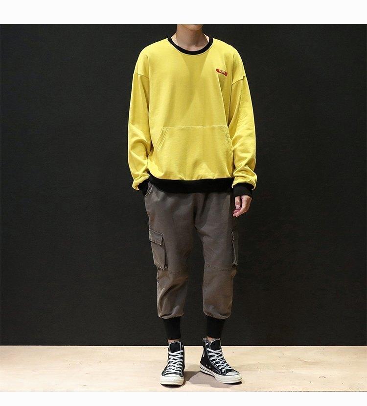 FINDSENSE H1秋季 新款 日本  簡約 時尚 寬鬆 大碼 運動休閒長袖 套頭 圓領衛衣 潮男 上衣