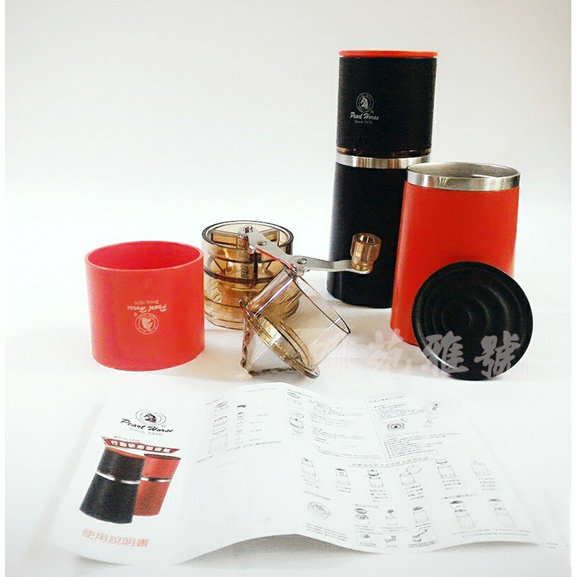 ~✬啡苑雅號✬~寶馬牌 行動研磨咖啡組 可調整研磨咖啡粗細磨豆機 攜帶式 手沖壺 咖啡杯 CM-111-SET 紅色