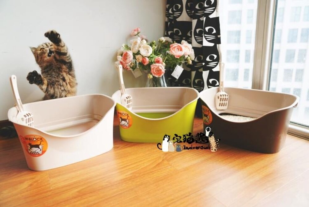 宅貓醬 日本IVPETS愛蓓詩雙層防濺出高壁貓廁所貓砂盆 贈貓砂鏟     【歡慶新年】