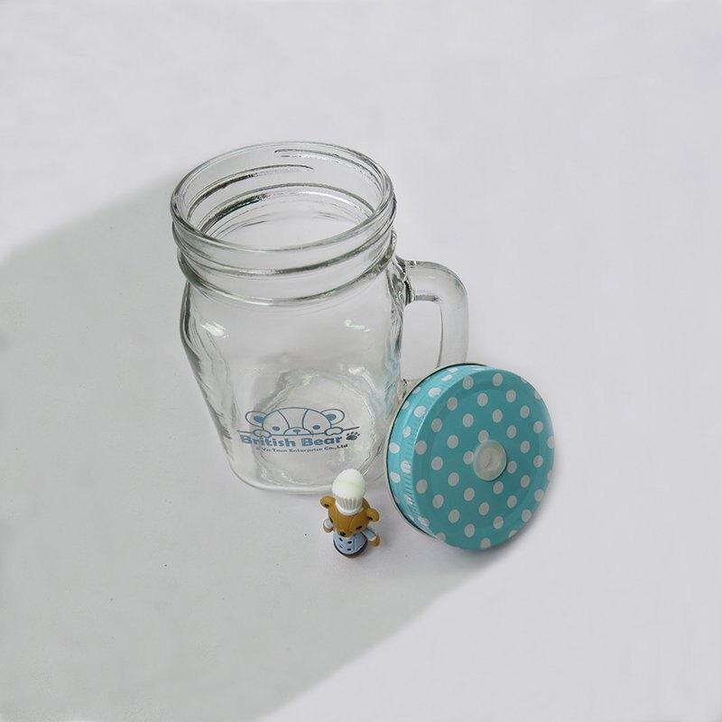 57076-002- 興雲網購【 英國熊造型玻璃瓶 】馬克杯、冰沙杯、飲料杯、沙拉杯、儲物罐、果汁杯、咖啡杯