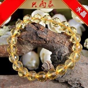 開光黃水晶手鏈 招財旺運 西瓜切面水晶手鏈