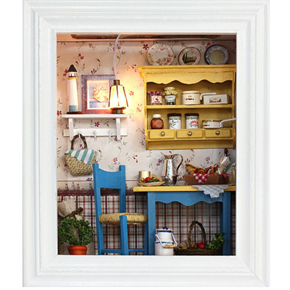 【WT16122103】 手製DIY小屋造型藝術相框 手工拼裝房屋模型建築-悠閒午餐