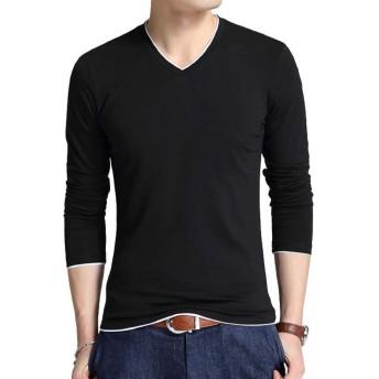 [スリーピングシープ] Vネック 長袖 カットソー Tシャツ ロンT インナー シンプル カジュアル トップス メンズ (1.ブラック, XXXXLサイズ(日本サイズ3XL))