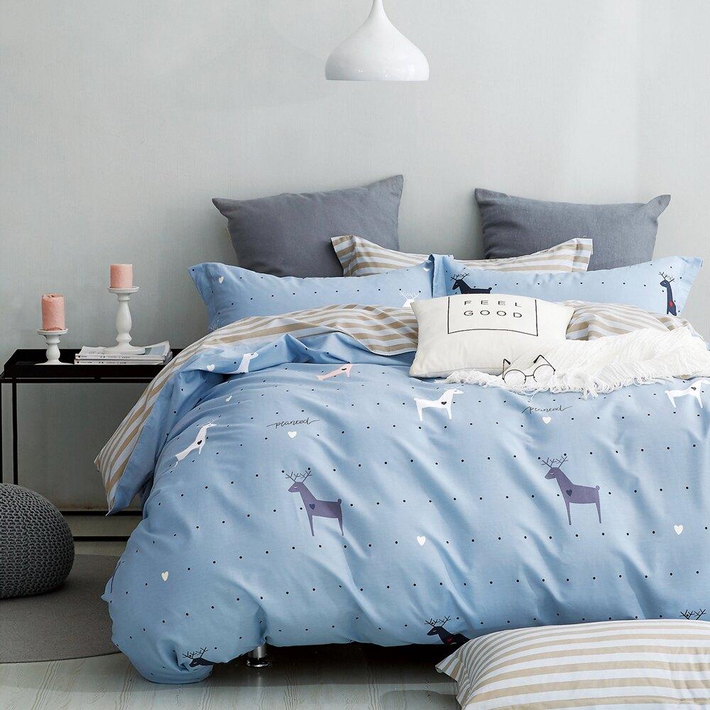 Pure One 100%精梳純棉 【聖牧精靈】單人床包枕套兩件組