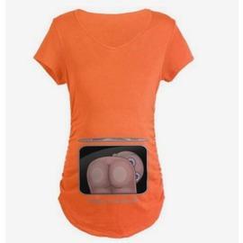 橙色S純棉孕婦t恤短袖中長款夏季孕婦裝寬松韓版大碼可愛寶寶翹pp印花