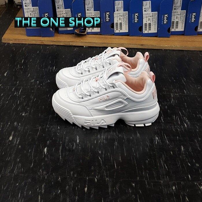 FILA 老爹鞋 鋸齒鞋 白色 粉色 粉紅色 韓國 鋸齒 厚底 增高 復古 DISRUPTOR 2 FS1HTB1074X WPK