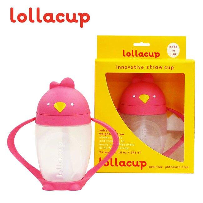 美國 LOLLACUP 小雞吸管學習水杯/喝水杯/練習杯_嬌麻雞(粉)LOLLALAND