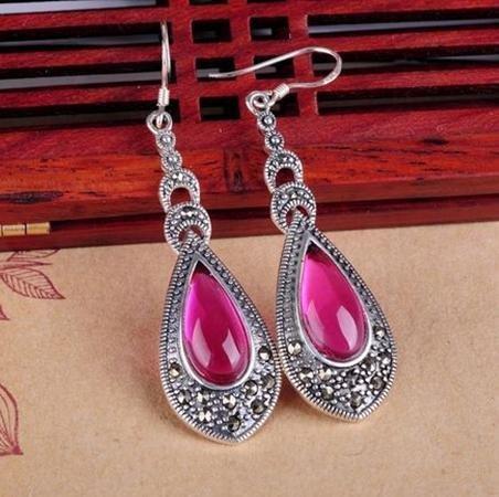 銀飾宮廷複古手工銀飾品 銀耳環紅剛玉誇張流蘇大耳墜