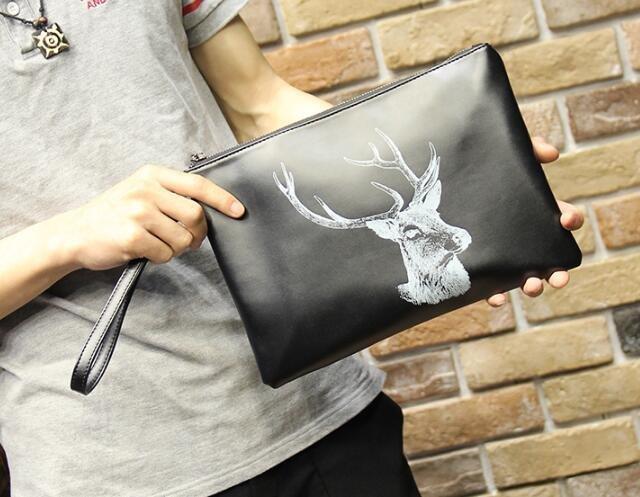 FINDSENSE Z1 韓國 時尚 潮 男 皮質 鹿頭圖案 手提包 手拿包 皮夾包 公事包 側背包