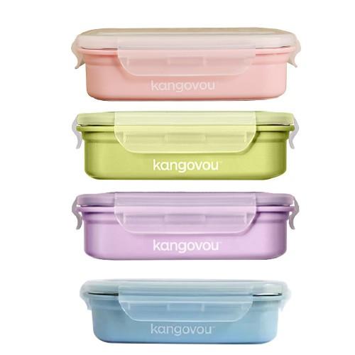 美國Kangovou 小袋鼠不鏽鋼安全餐盒(4色)【限量送有機棉圍兜兜1入(隨機)】