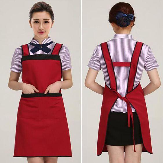 女圍裙純棉韓版時尚可愛廚房做飯餐廳放油防水工作服