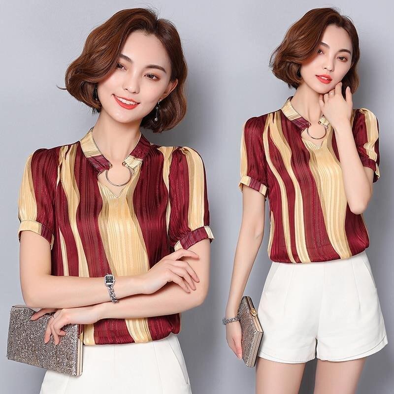 FINDSENSE G5 韓國時尚 雪紡衫 短袖 上衣 撞色 條紋 打底衫