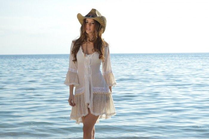 歐美時尚女裝 純色性感流蘇蕾絲拼接比基尼外搭沙灘裙罩衫洋裝 V8118
