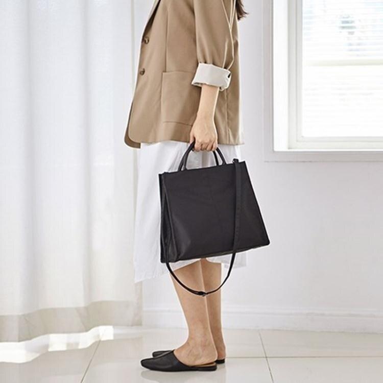手提包 簡約尼龍商務公文包女OL輕便防水手提包學生單肩斜挎書包  年會尾牙禮物