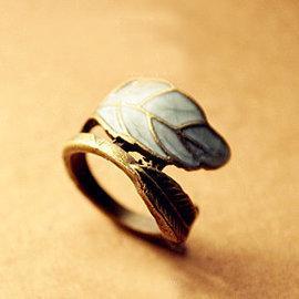 33172 韓版 飾品 歐美 複古 落葉子 彩釉 女 戒指