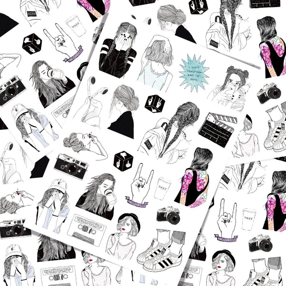 行李箱貼紙 美女插畫素描創意個性行李箱筆記本電腦手機貼紙滑板拉杆箱防水44 寶貝計畫