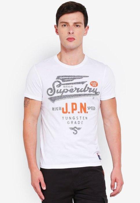 跩狗嚴選 土耳其製 極度乾燥 Superdry 復古Logo HS 輕量薄款 光學白 上衣 短袖 T恤 純棉