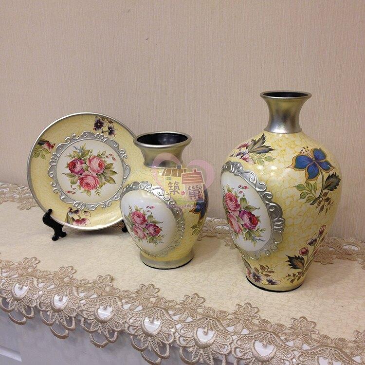 陶瓷花瓶三件套組-古典玫瑰