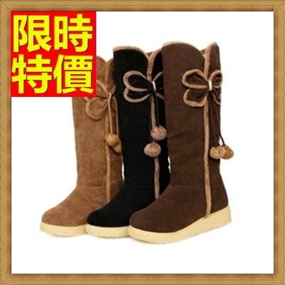 雪靴女長筒靴-蝴蝶結防水防滑加絨保暖高筒平底女靴子3色64aa29【韓國進口】【米蘭精品】
