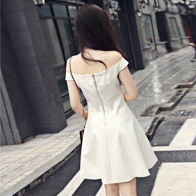 連身裙 一字領洋裝-時尚優雅氣質A字修身純色露肩女連衣裙2色73ha4【獨家進口】【米蘭精品】
