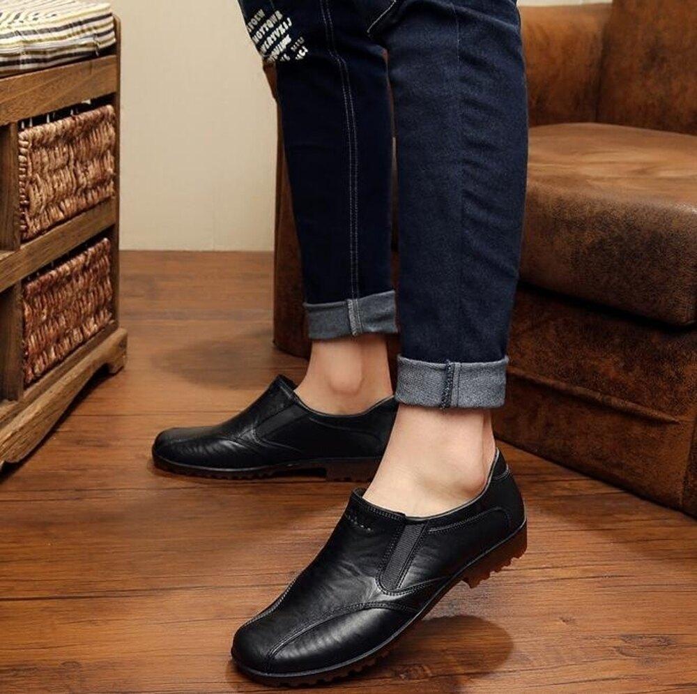 雨鞋男低筒短筒防水釣魚鞋仿皮鞋厚底防滑膠鞋廚房工作鞋廚師鞋「時尚彩虹屋」