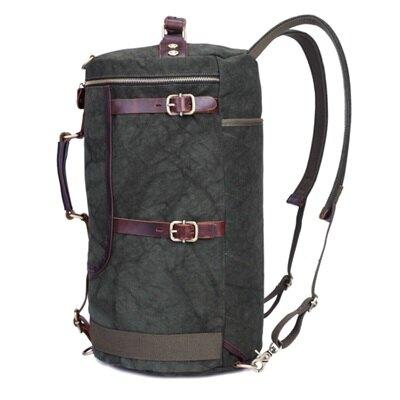 後背包帆布雙肩包-戶外旅行多功能圓筒型男包包3色73mz17【獨家進口】【米蘭精品】