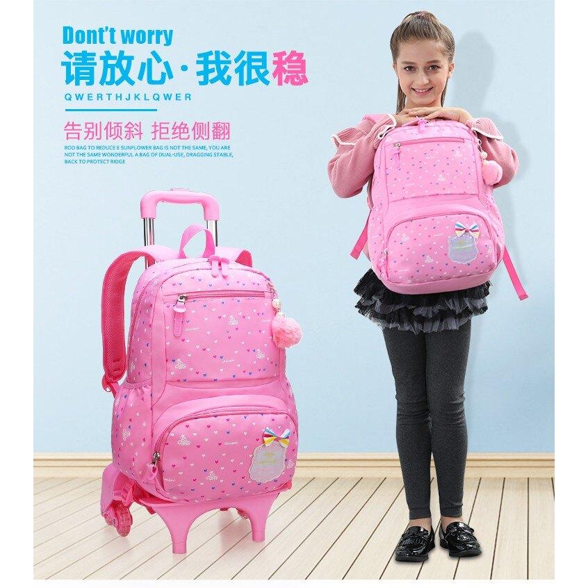 拉桿書包兒童小學生女孩6-12周歲女童可拆卸大號三輪拖5zzy2525 TW