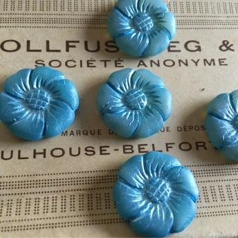 【1コずつ販売】czech beads #チェコビーズ JIRI*IVANA flower 22㎜ ライトブルー/ブルーインレイ ミルク