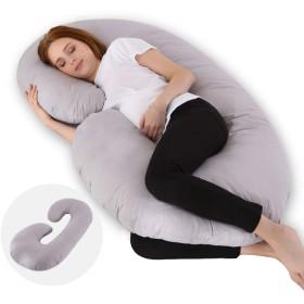 フルボディ妊娠枕、100%コットンC字型マタニティ枕、高ストレッチコットン、取り外し可能な妊娠枕、マタニティフィーディングベビー枕(コットン、80  158CM)