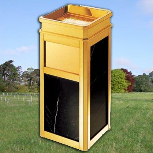 【企隆 圍欄 飯店用品】 垃圾桶 菸灰缸 煙灰 置物 G17T 鍍鈦方型大理石桶