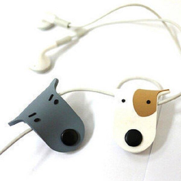 可愛 狗狗 扣式 捲線器 繞線器 集線器 收線器 耳機線 顏色隨機