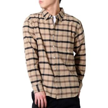 (リアルコンテンツ)REAL CONTENTS チェック シャツ メンズ 長袖 カジュアルシャツ rcls3506 (M, BEIGE)