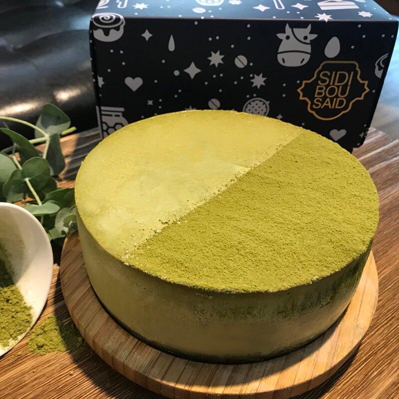 暫停接單-一抹綠影-抹茶起司蛋糕 乳酪蛋糕 抹茶控 下午茶  6吋 藍白小鎮