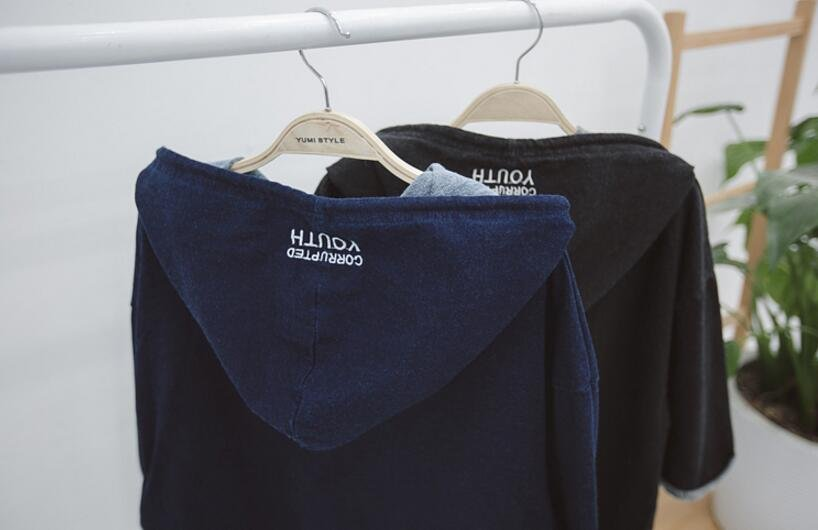 FINDSENSE品牌 日系 男 時尚潮流 休閒 寬鬆 連帽 水洗 字母刺繡 下擺開叉 短袖T恤 特色短T