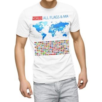 igsticker プリント Tシャツ メンズ XL size おしゃれ クルーネック 白 ホワイト t-shirt 012898 国旗 地図 世界