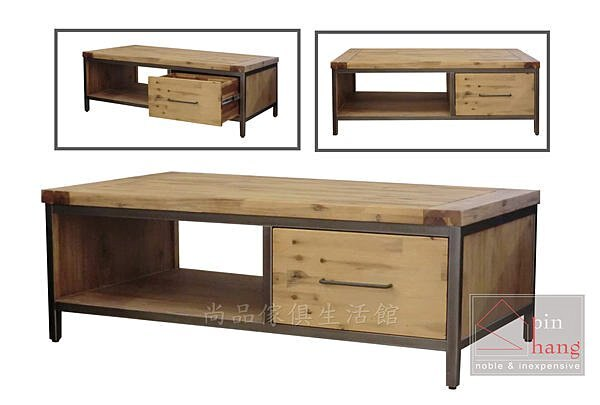 【尚品家具】K-891-07 諾立 相思木正反兩抽大茶几/客廳桌/長几~另有小茶几
