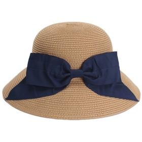 LKJASDHL 女性の麦わら帽子ダークバックル折りたたみ式帽子弓バイザービーチドームファッショナブルな帽子 (色 : Camel - Navy Butterfly, サイズ : M:56-58cm)