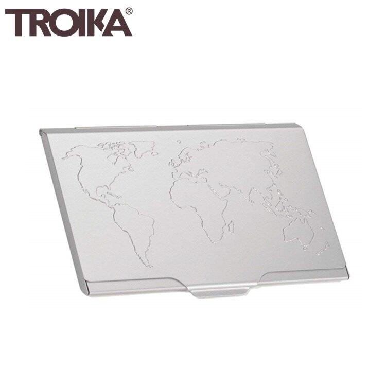 又敗家(銀色)德國TROIKA世界地圖防RFID夾名片夾信用卡夾CDC15-02/AL高質感名片盒防感應卡夾防NFC側錄輕薄隨身卡匣name card storate box