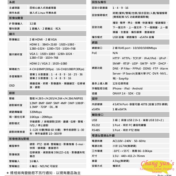 高雄/台南/屏東監視器 DHI-NVR5432-4KS2 H.265 32路NVR 大華dahua 監視器主機