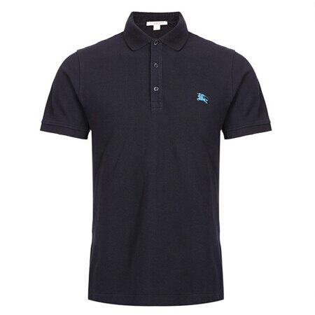 美國百分百【全新真品】Burberry 短袖 polo衫 素面 戰馬 logo 英倫 精品 深藍色 XS號 J696