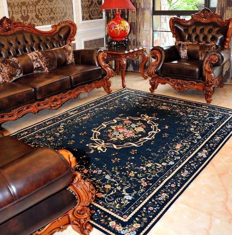 不退流行 夏季清爽款 140*200 CM 歐洲宮廷貴族風 玫瑰庭園風格高級客廳地毯 RCP20013