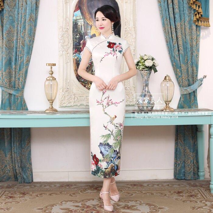 東方美人旗袍唐裝專賣店 C0176-A。仿絲軟緞時尚印花半月包袖長旗袍