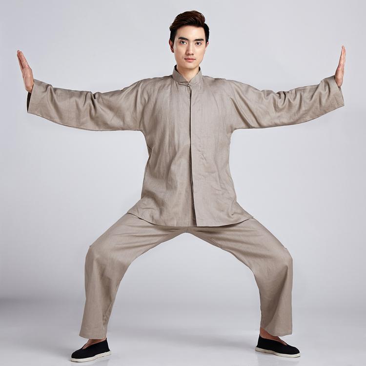 【水水女人國】~中國風男士唐裝~無極(棕色)。復古純麻素色書卷氣質十足的長袖上衣外套+長褲功夫套裝