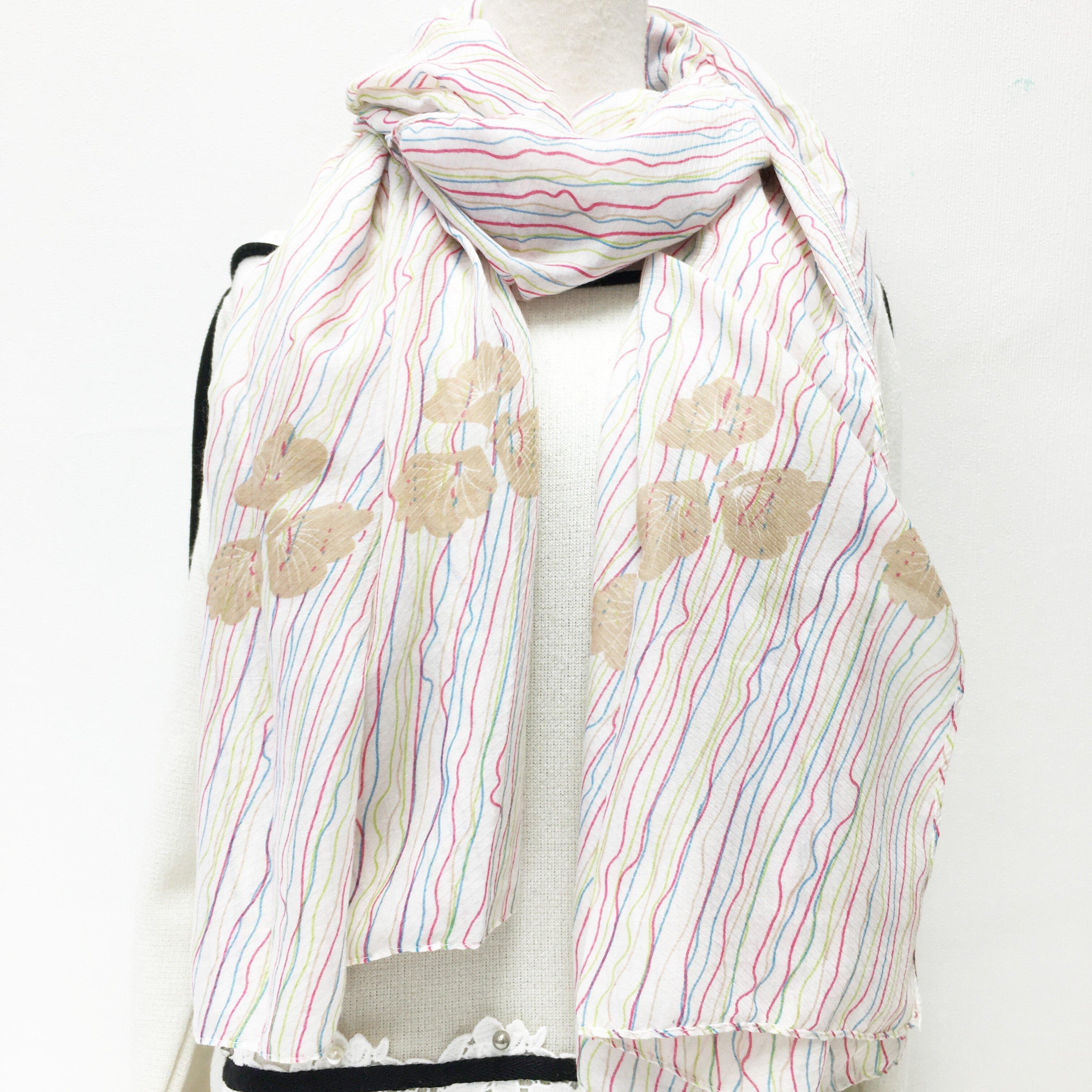 圍巾 條紋 彩色線條 親膚 披肩 薄圍巾 絲巾 秋冬