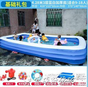 游泳池兒童充氣游泳池加厚成人水池家庭嬰幼兒游泳桶家用小孩泳池LX
