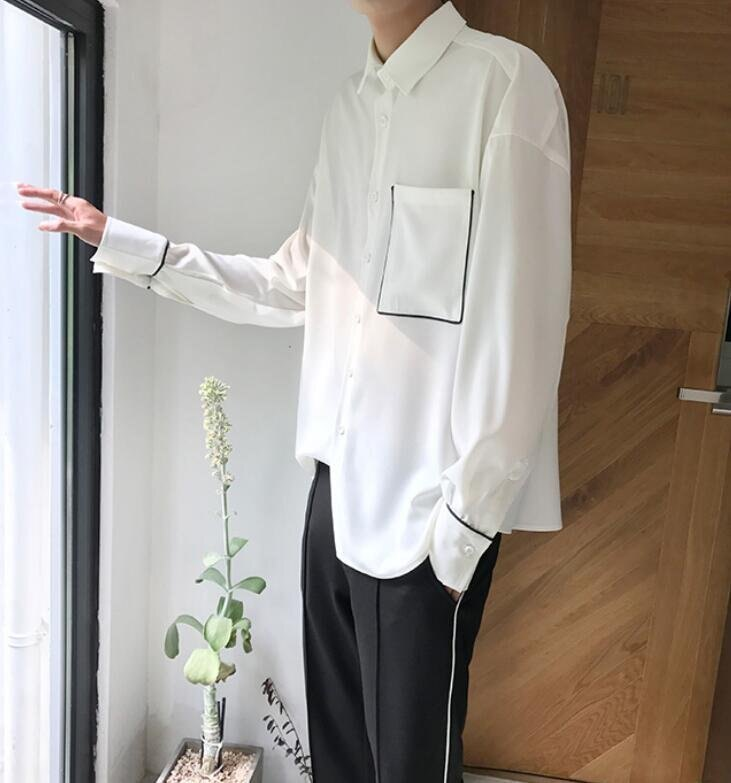 FINDSENSE MD 時尚 男 韓國 寬鬆 撞色 休閒百搭舒適 學生襯衣 長袖襯衫 特色襯衫