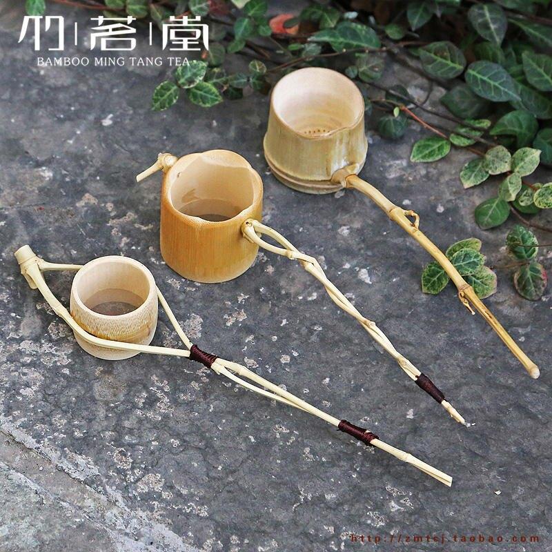 纏線直柄梅花茶濾 孟宗竹纏枝茶具配件竹濾網 日式細長柄茶漏茶慮1入